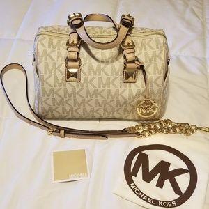 Authentic Michale Kors small white Grayson satchel